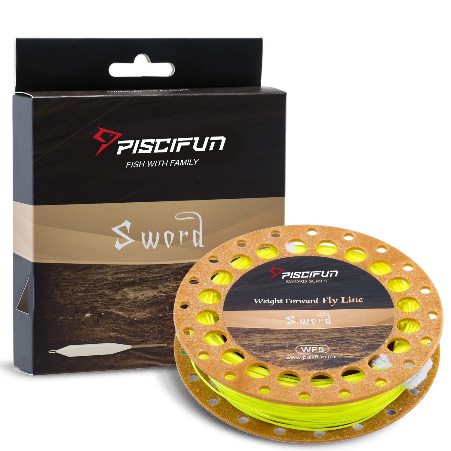 Piscifun Sword Weight Forward Floating Fly Fishing Line with Welded Loop WF2wt 90FT Fluorescent Yellow by Piscifun