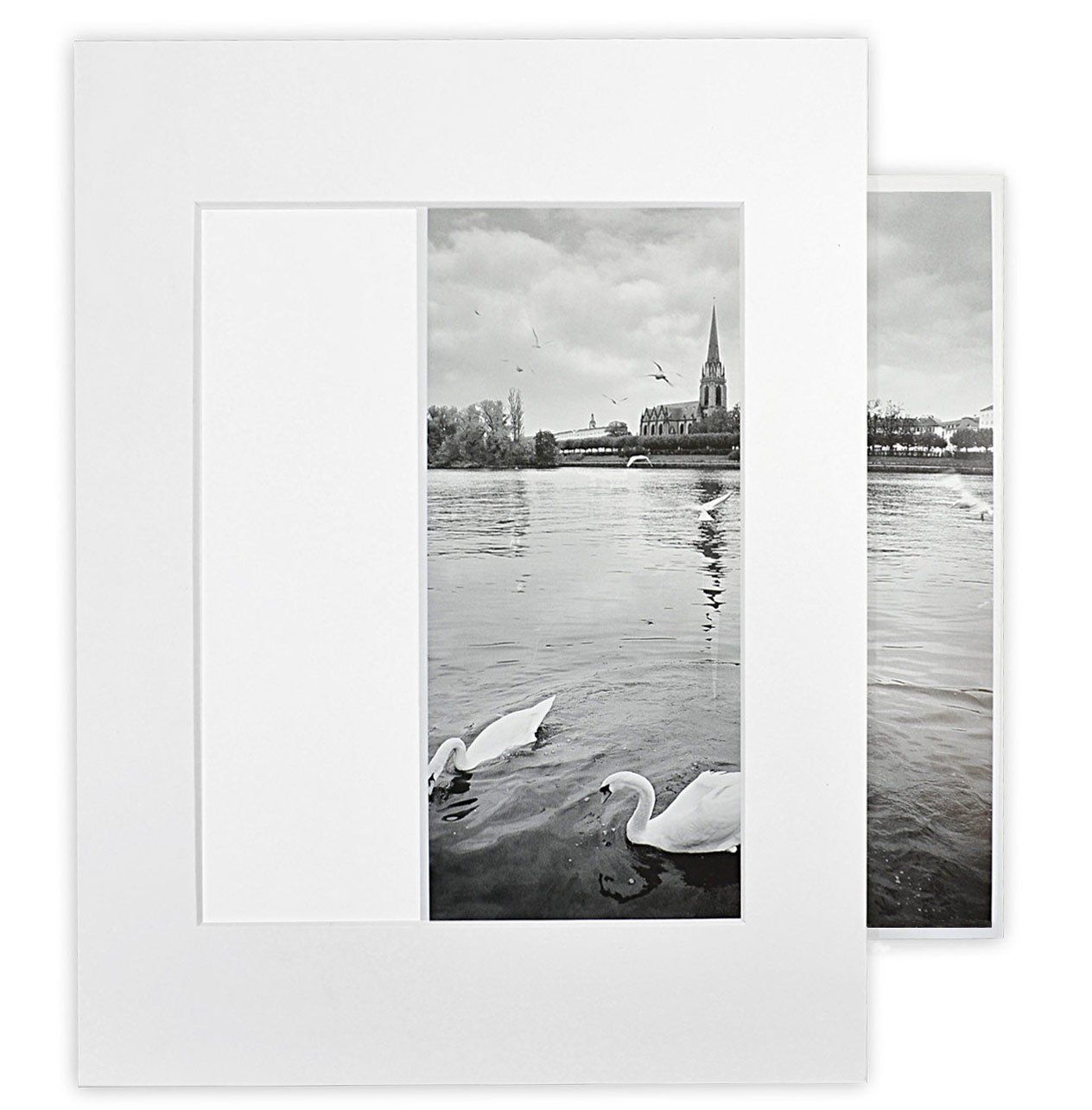 Golden State Art, Pack of 25 White 11x14 Self-Assemble Photo Mat for 8x10 Picture with Backing Board pre-gummed, Includes 25 Clear Bags