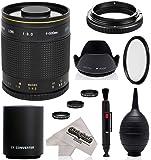 Super 500mm/1000mm f/8 Mirror Telephoto Lens for Nikon D5, D4S, DF, D4, D3X, D810, D800, D750, D700, D610, D500, D300, D90, D7200, D7100, D5500, D5300, D5200, D5100, D3300, D3200 Digital SLR Camera