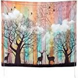 Psychedelic Tapestry Wall Hanging Christmas Mandala Tapestry 51 x 59 inches Elk Forest with Birds Wall Tapestry Bohemian Hippie Tapestry for Bedroom Living Room Dorm (5159)
