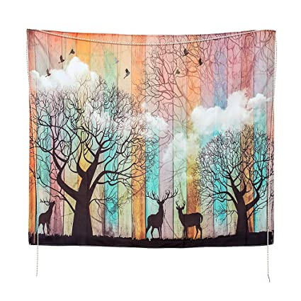 qcbest elk forest tapestry wall hanging51 x 59 inches psychedelic forest with birds wall - Bedroom Tapestry