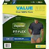 Depend FIT-FLEX Incontinence Underwear for Men, Maximum Absorbency, Small/Medium, Gray (Packaging may vary)