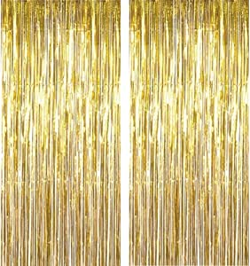 2Pack 3.2 ft x 9.8 ft Metallic Tinsel Foil Fringe Curtains for Party Photo Backdrop Wedding Decor