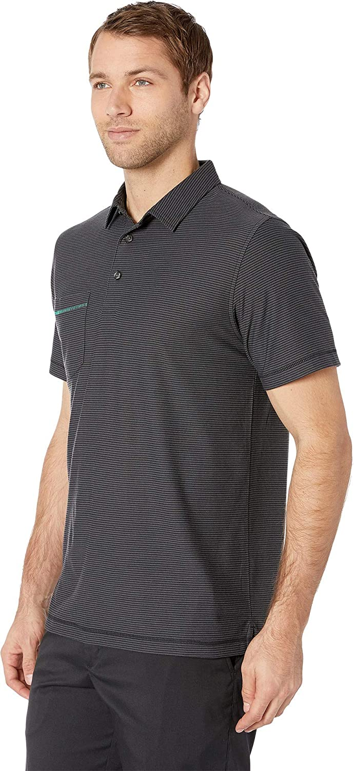 Linksoul Mens LS1119 Dry-TEK Poly//Cotton Striped Polo w//Pocket