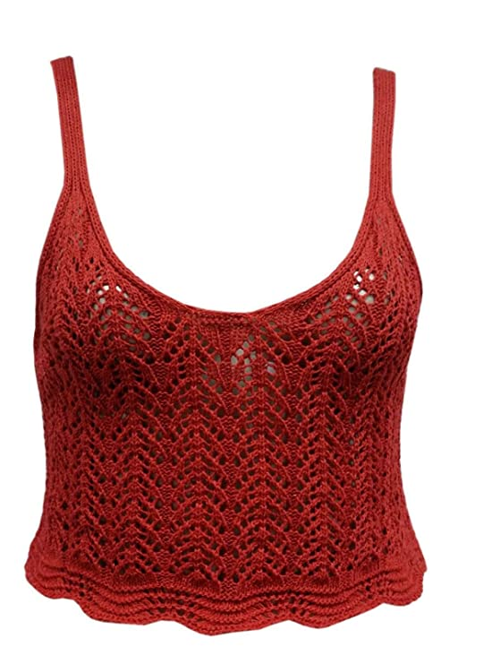 f7fe5104a0 Womens Cable Knitted Deep Round Neck Bra Ladies Crochet Cami Bralet Crop  Top  Amazon.co.uk  Clothing