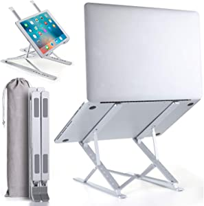 """Homelux Theory Portable Laptop Stand Double Layer 6+9 Levels Adjustable Ergonomic Portable Aluminum Laptop Desk, Lightweight Foldable Laptop Stand for MacBook Air Pro,Dell,HP,Acer & More up to 15.6"""""""