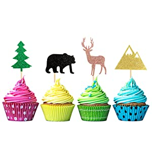 Unimall Pack of 24 Woodland Creatures Cupcake Toppers - Cute Forest Animals Theme Bear Deer Tree Mountain Cake Decorations Cupcake Toppers Picks for Baby Shower Kids Birthday Wedding Party Supplies