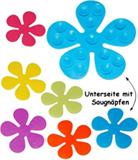 Innovativ 6 Antirutsch Sticker FLOWER POWER Pad Saugnapf Stopper für Wanne  QE42