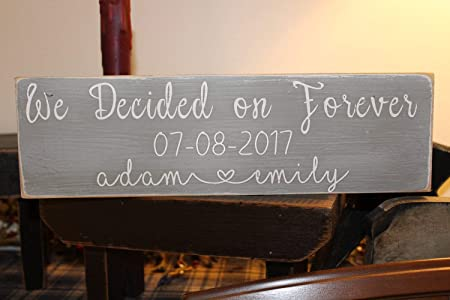PotteLove Letrero de Madera We Decided On Forever, Cartel de ...