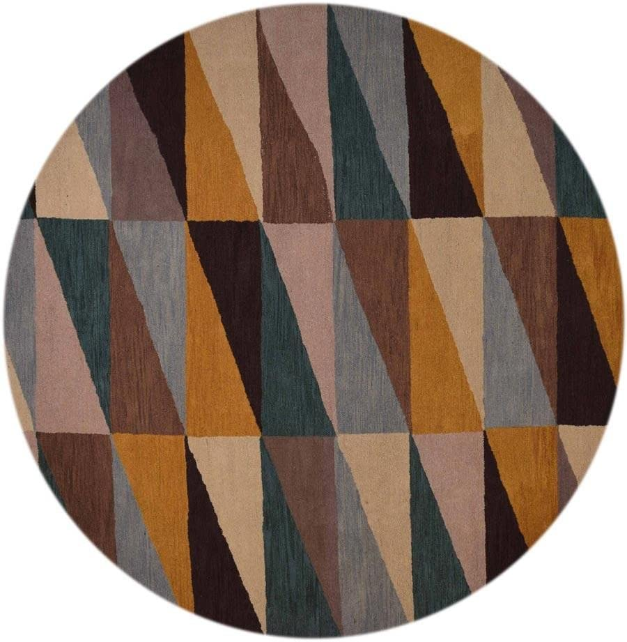 Rugsotic Carpets Hand Tufted Wool 8 x8 Round Area Rug Geometric Multicolor K00547