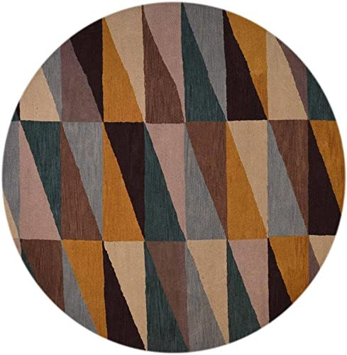 Rugsotic Carpets Hand Tufted Wool 8'x8' Round Area Rug Geometric Multicolor K00547