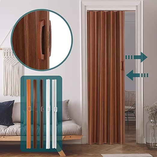 Jago – Puerta plegable de PVC – Nogal – aprox. 84/8/202 cm: Amazon.es: Bricolaje y herramientas