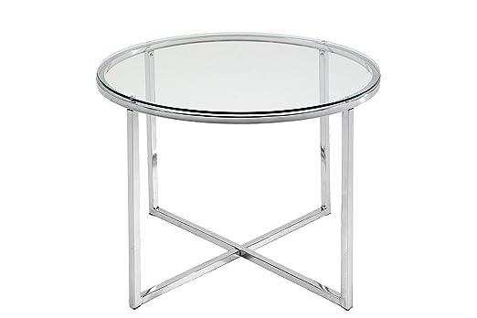 Mesa auxiliar redonda en cristal transparente y cromo de 55 cm de ...