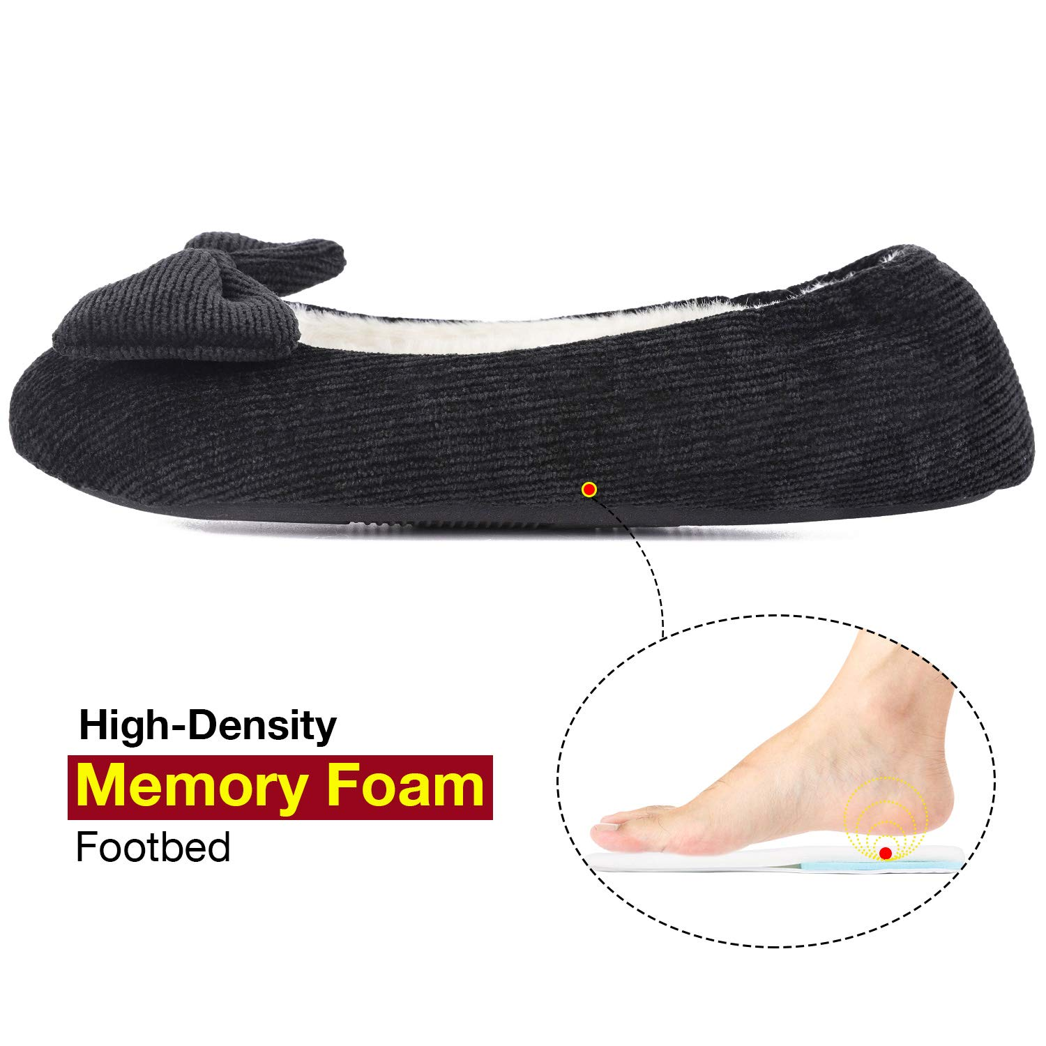VeraCosy Womens Fuzzy Memory Foam Ballerina Slippers Soft Cotton Knit House Shoes with Stretchable Heel