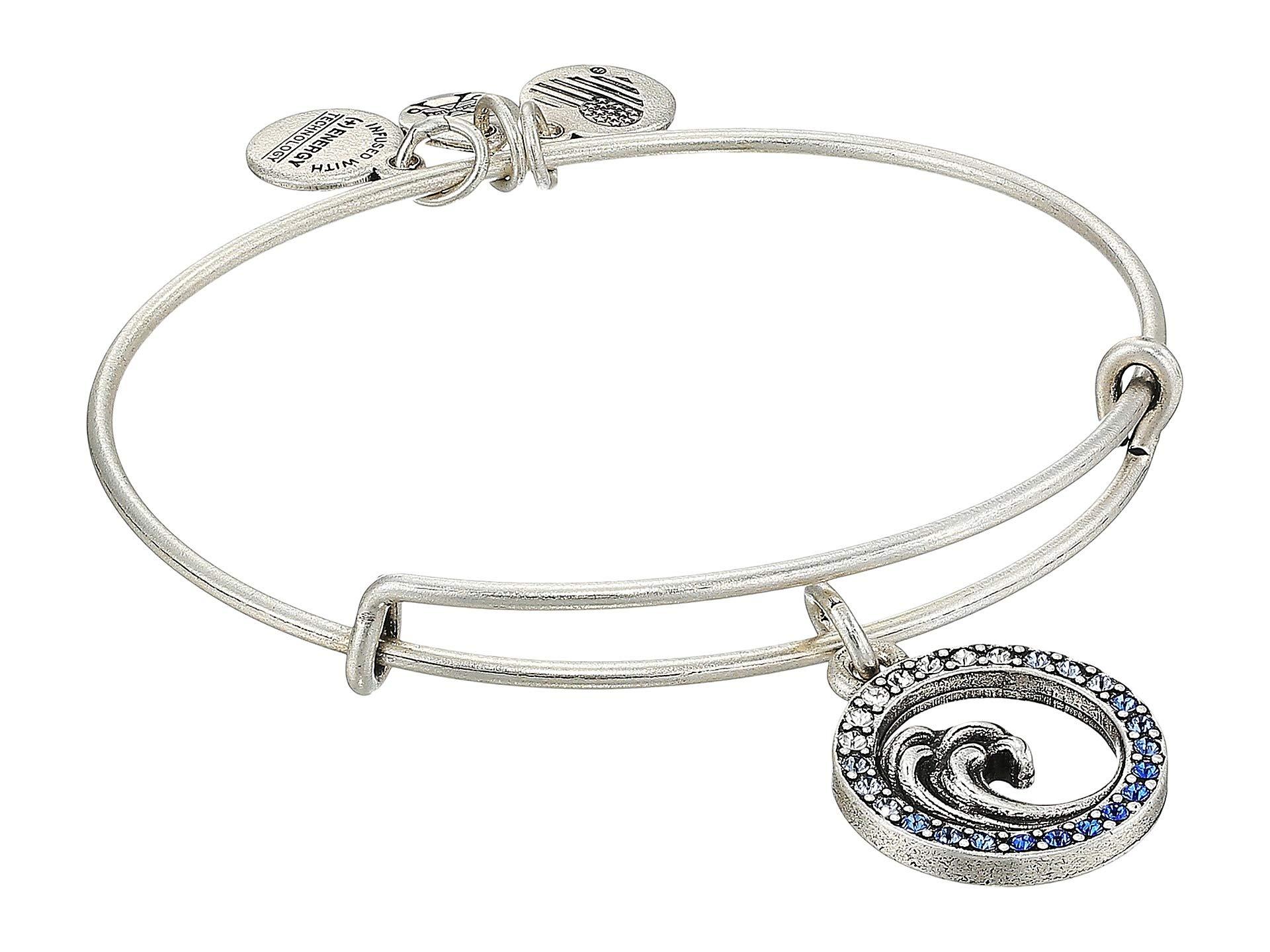 Alex and Ani Women's Crystal Wave Charm Bangle Rafaelian Silver One Size