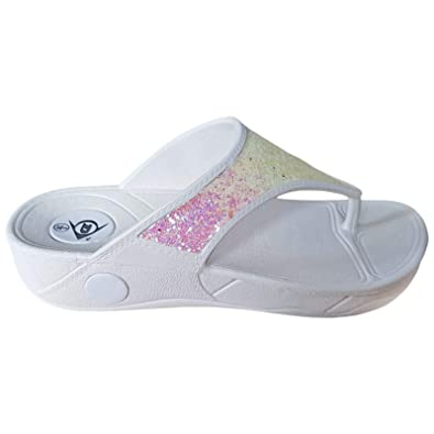 ecfa08c8b26 Ladies Dunlop Low Wedge Fit Flip Flop Toe Post Crystal Sandals Shoes Size  3-8