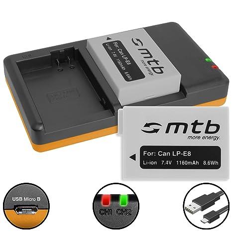 2 Baterías [1160 mAh] + Cargador doble (USB) para Canon LP ...