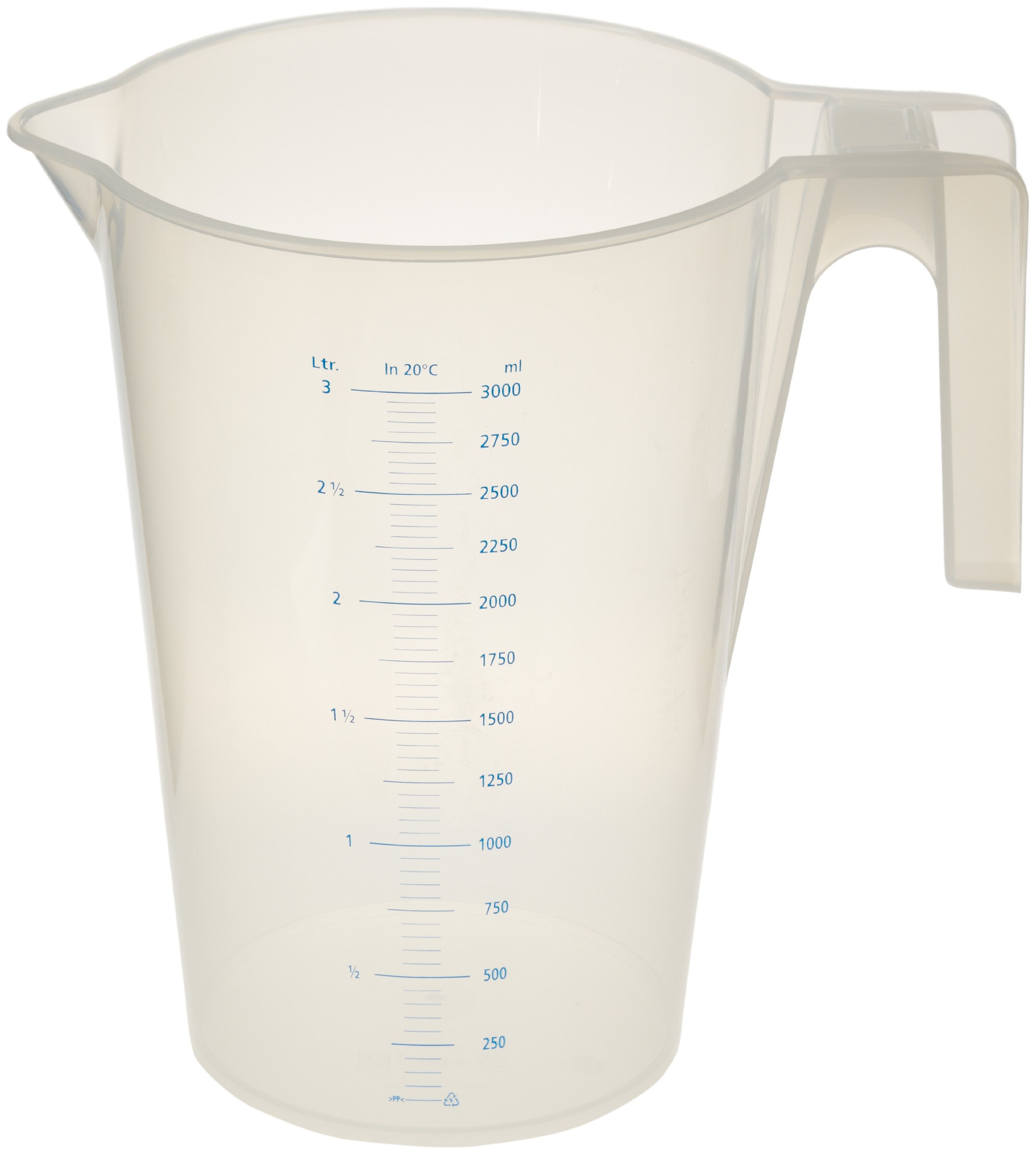 Vitlab Polypropylene Graduated Pitcher, Nesting, 3000mL Capacity (Pack of 12)