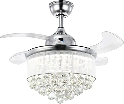NOXARTE Crystal Chandelier Ceiling Fan Invisible Retractable Blades LED Dimmable Remote Control Lighting Fixture