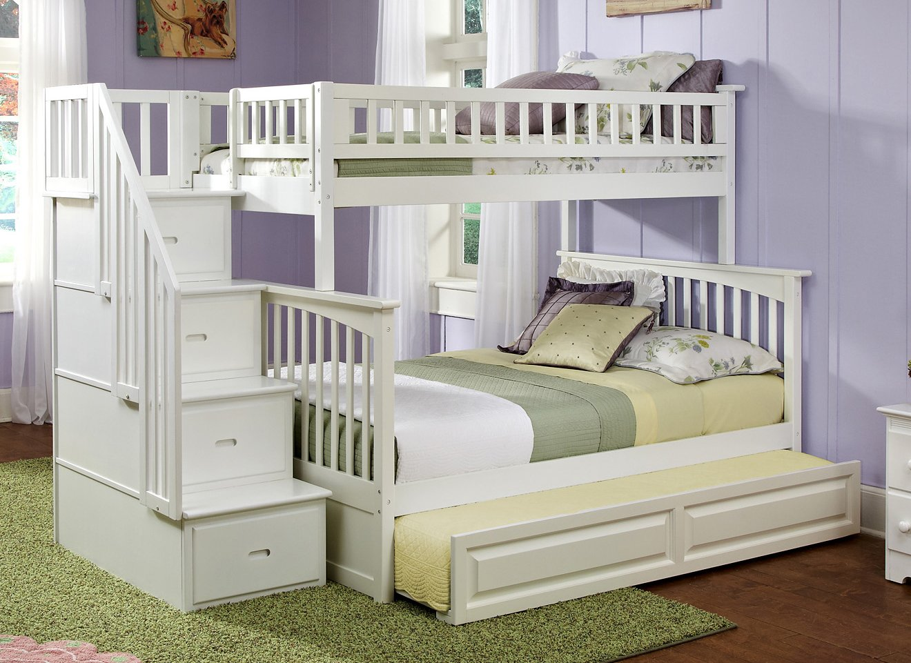 Twin trundle bed white - Amazon Com Columbia Staircase Bunk Bed With Trundle Bed Twin Over Full White Kitchen Dining