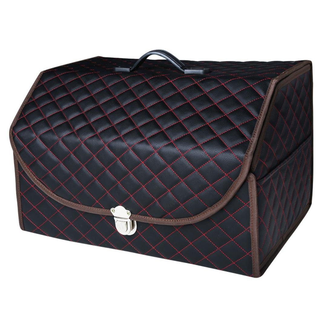 Black 1 Car Trunk Boot Box Foldable SUV Leather Storage Organiser Collapsible Auto Minivan Truck Shopping Travel Holder With Lid Handle