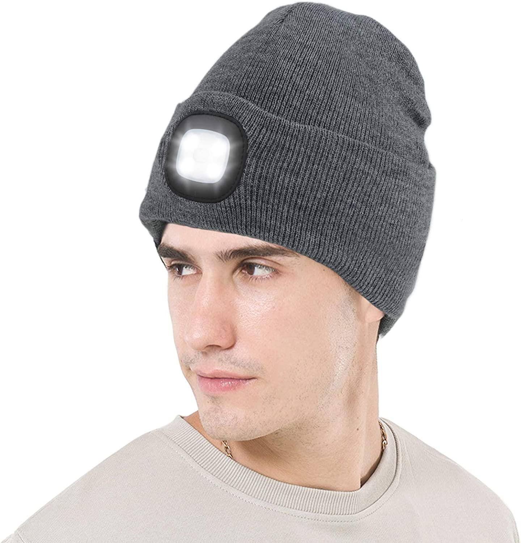 grigliate campeggio ciclismo ANSUG Cappello lavorato a maglia con luce caccia 4 LED Unisex Beanie Hat USB Ricaricabile Hands Free Headlamp Cap -Dethable lavabile e dimmerabile per jogging