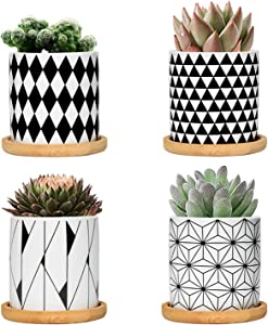 FairyLavie 3 Inch Ceramic Little Pots for Plants, Geometric Pattern Succulent Plant Pots Planters with Bamboo Tray, Perfect for Home Office Decor and Ideal Gift for Family Friends Colleague, Set of 4