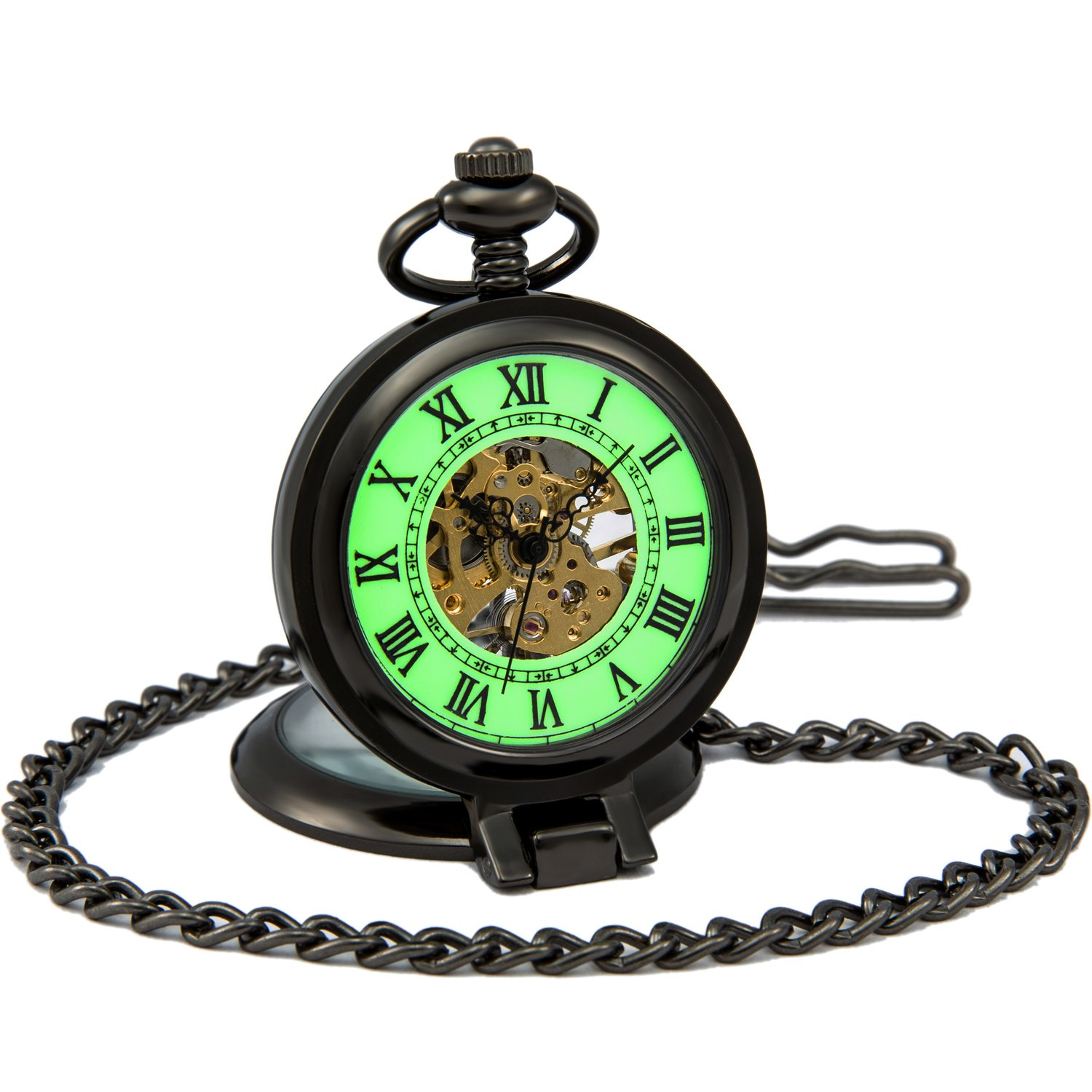 SEWOR Mens Luminous Dial Hand Wind Mechanical Pocket Watch with Brand Leather Gift Box (Stand Up Black)