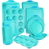 10-Piece Nonstick Bakeware Set with Blue Silicone Handles with Baking Pans, Baking Sheets, Cookie Sheets, Muffin Pan, Bread P