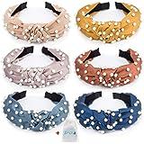 EAONE 6 Piezas Diademas de Mujer (Perlas), Bandas para el Cabello Diademas de Pelo Anchas Diadema Ancha para Niñas, con 1 Bol