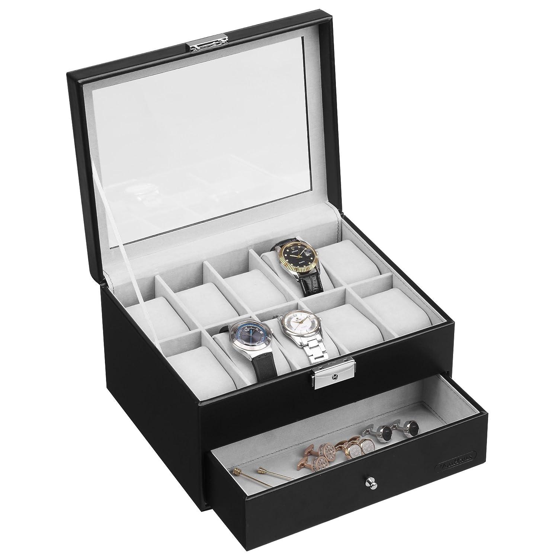 VonHaus 10 Watch and Cufflink Display Box with Drawer | Black Faux Leather Amazon.co.uk Kitchen u0026 Home  sc 1 st  Amazon UK & VonHaus 10 Watch and Cufflink Display Box with Drawer | Black Faux ...
