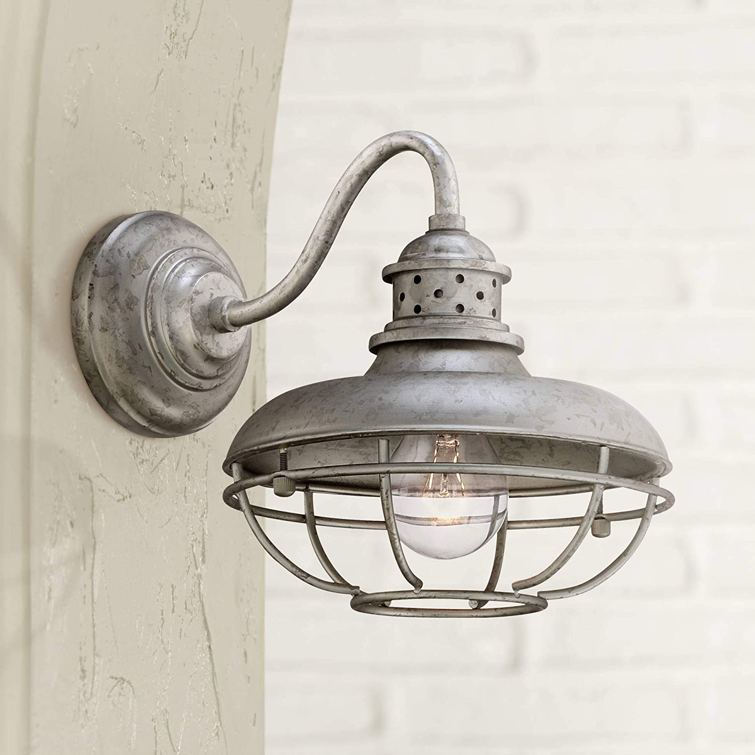 "Franklin Park 9"" High Galvanized Steel Outdoor Wall Light"