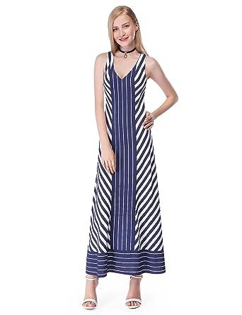 451ca2cec165e Alisa Pan Sleeveless Open Back Striped Maxi Dress 07043 at Amazon Women s  Clothing store