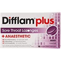 Difflam Plus Anaesthetic Sore Throat Lozenges, Berry, 16 count