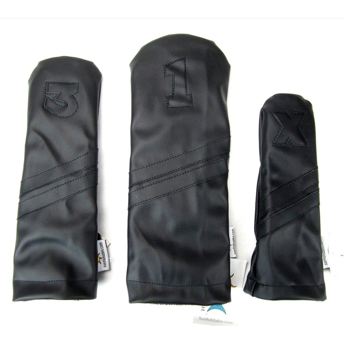 Sunfishレザーヘッドカバーセット1 – 3-xブラックonブラックMurdered Out B07C4H6SC4