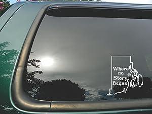 "Rhode Island State- Where My Story Began- Die Cut White Vinyl Window Decal/sticker for Car/truck/laptop 5""x5.5"""