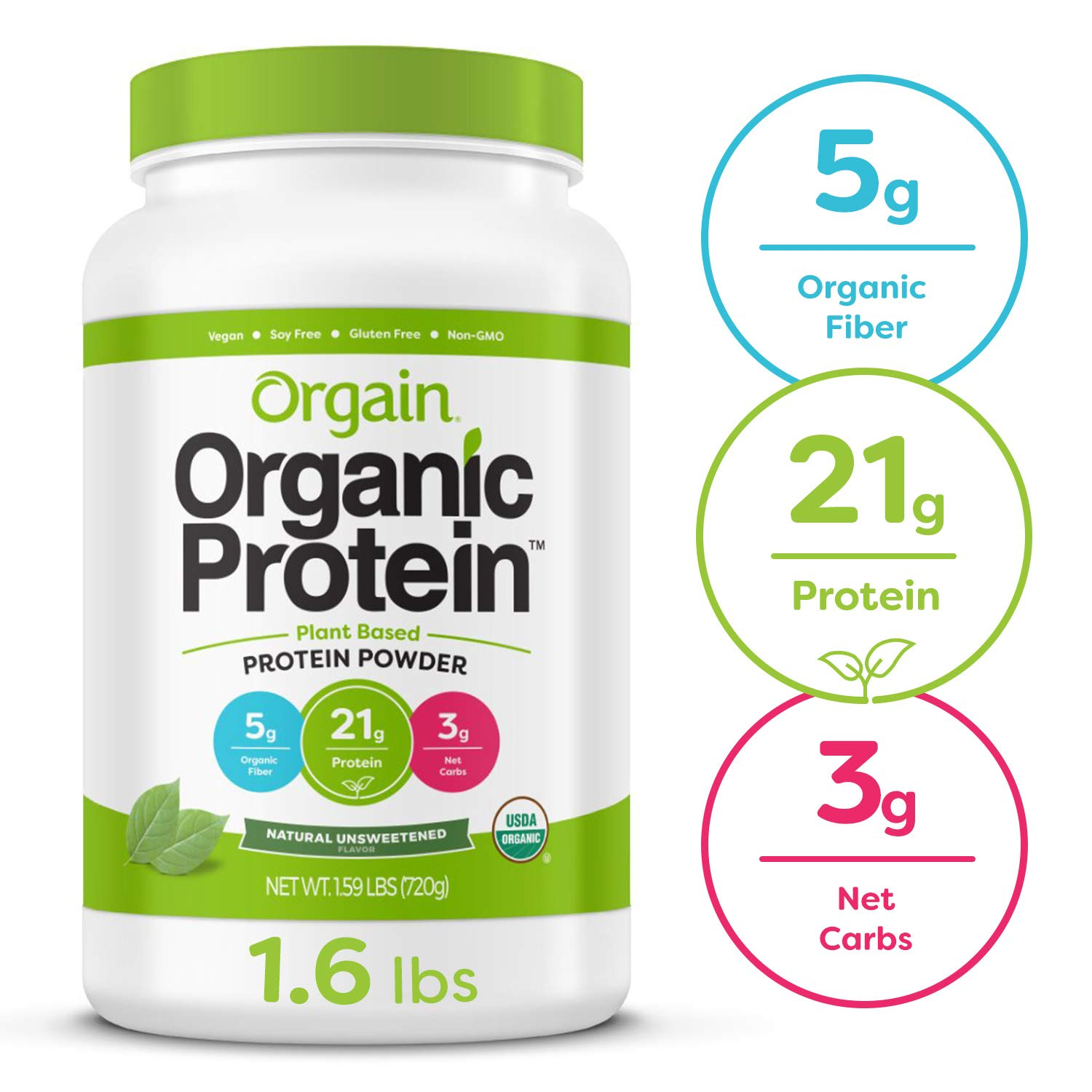 Orgain Organic Plant Based Protein Powder, Natural Unsweetened - Vegan, Low Net Carbs, Non Dairy, Gluten Free, Lactose Free, No Sugar Added, Soy Free, Kosher, Non-GMO, 1.59 Pound by Orgain