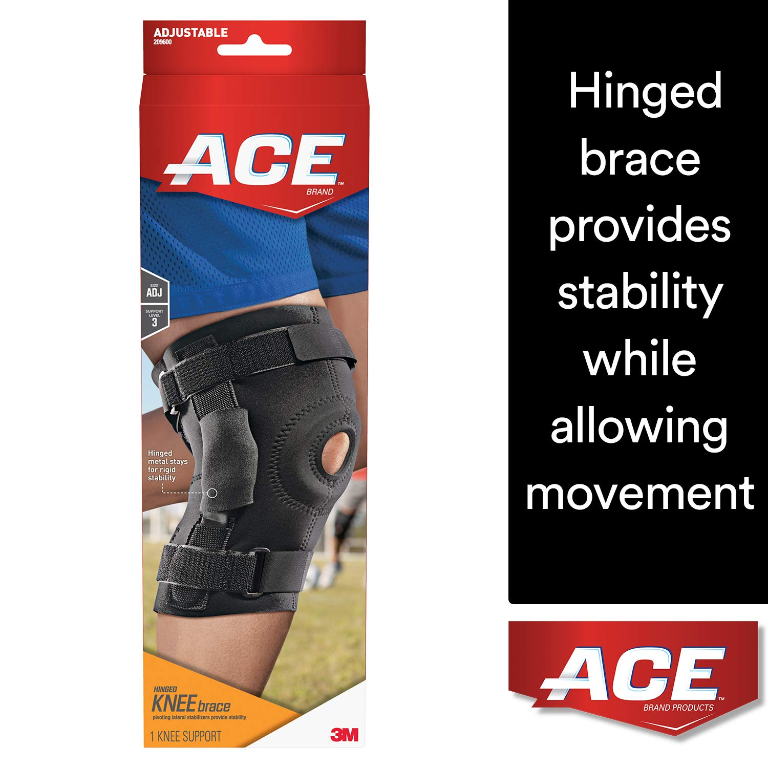 af637f9fc5 Amazon.com: ACE Hinged Knee Brace, One Size Fits Most, Left or Right Knee,  Adjustable, Firm, Stabilizing Compression to Weak, Sore Muscles and Joints:  ...