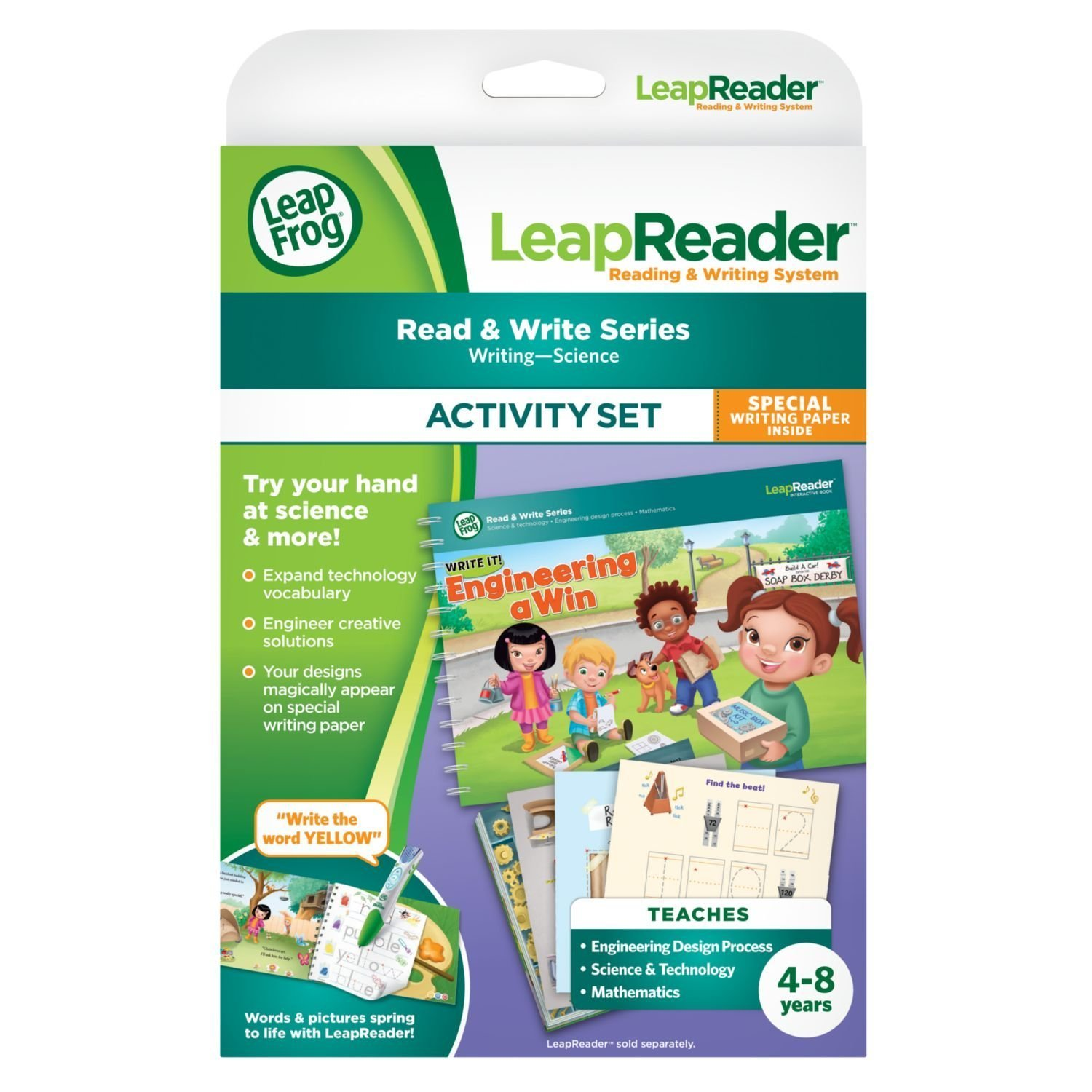 LeapFrog LeapReader Writing Workbook: Write it! Engineering A Win & LeapReader Read & Write System Green, Ages 4-8 Years, Interactive Learning System For Kids, STEM, Educational Tools, Activity Bundle by LeapFrog (Image #2)