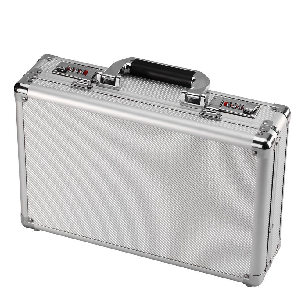 Small Aluminum Hard Case Silver Carrying Case Portable Equiment ToolBox Case Briefcases
