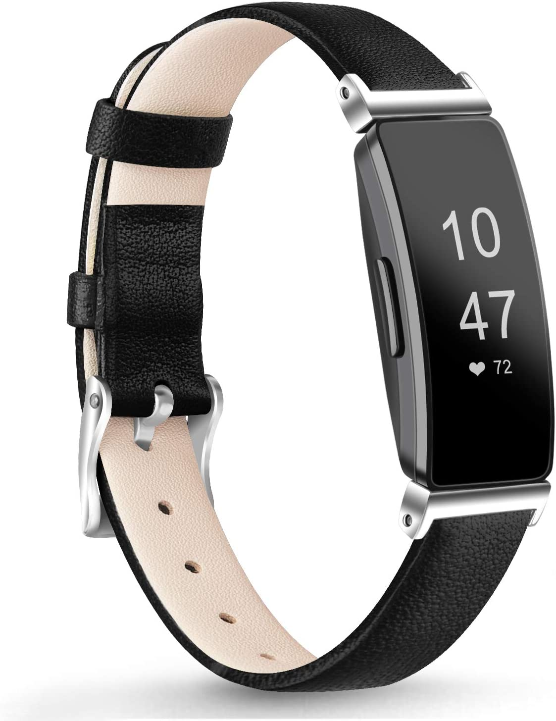 Vancle Leather Bands Compatible with Fitbit Inspire HR Band//Fitbit Inspire Band//Ace 2 Classic Genuine Leather Wristband Replacement with Stainless Steel Connector for Inspire HR Band//Fitbit Inspire Band//Ace 2 Fitness Activity Tracker Women Men Small Large