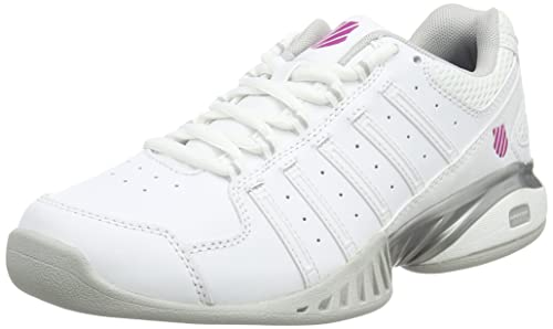 online store feef4 f8c8b K-Swiss Performance Women s Receiver Iii Carpet Tennis Shoes, (White Silver
