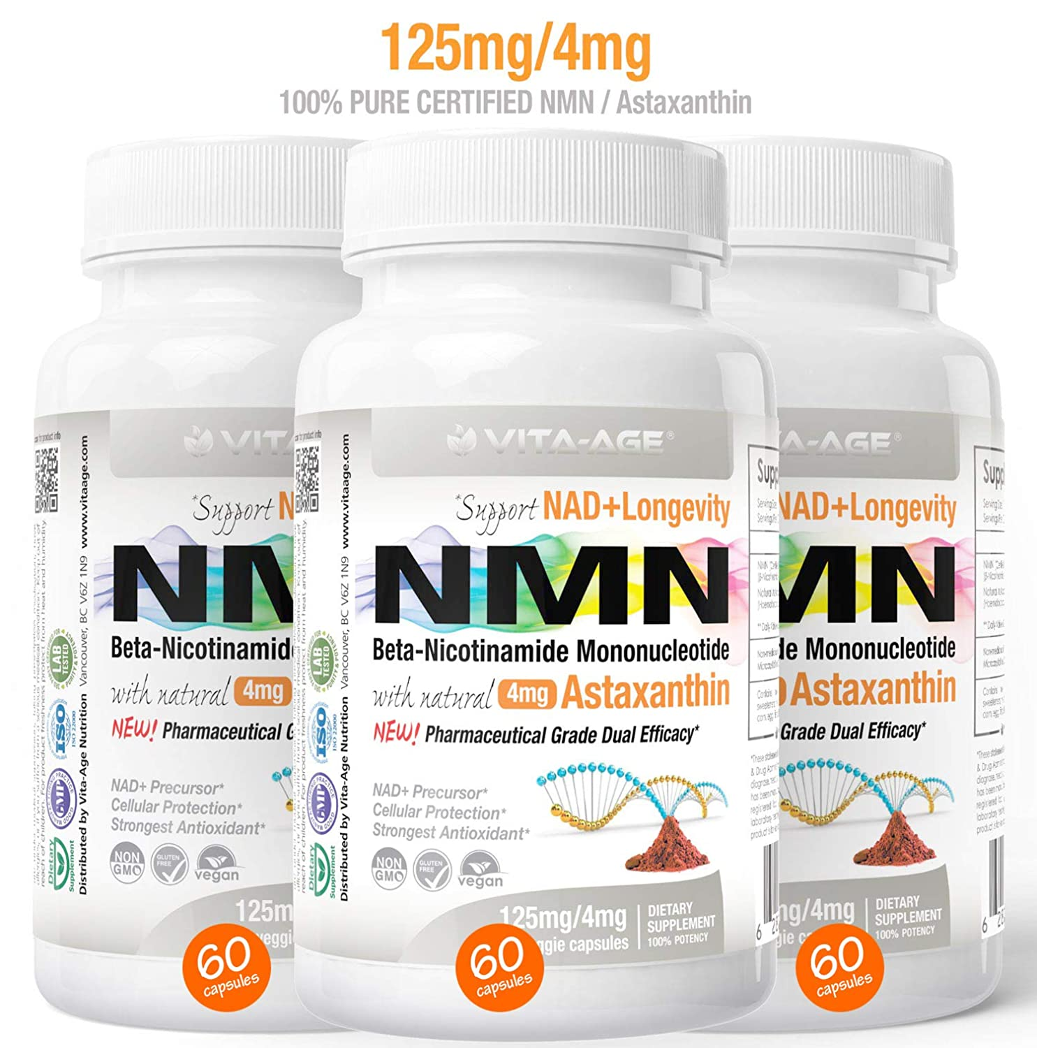 3 x NMN 60 Capsules 125mg Vita-Age Certified NMN – Nicotinamide Mononucleotide Astaxanthin – Sirtuin Activation Anti-Aging DNA-Repair Energy NAD Antioxidants