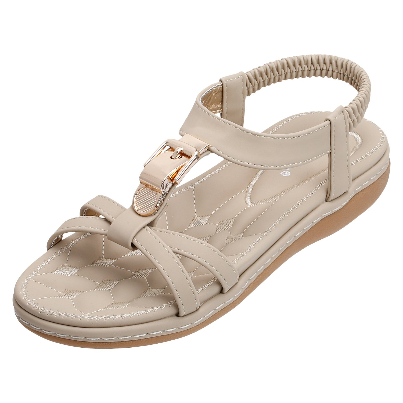 SANMIO Damen Sandalen, Frauen Sandals Bohemian Strass Flach Sandaletten Sommer PU Leder Zehentrenner  41 EU|Beige