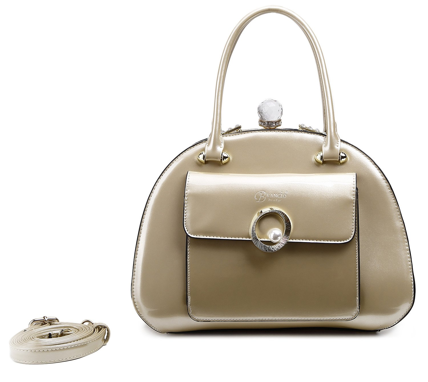 8319e44145bf Brangio Italy Pearl Shine Women's Top Handle Clasp Shoulder Handbag ...