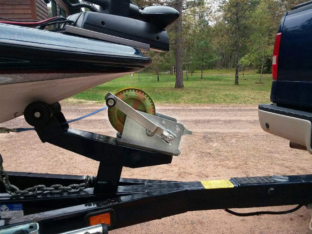 SoB 3200lbs Heavy Duty Hand Winch Towing Winch Hand Winch Cable Boat Trailer Winch Marine Trailer Winch Gear Hand Winch with Strap for ATV Boat Trailer Auto Deer Hoist