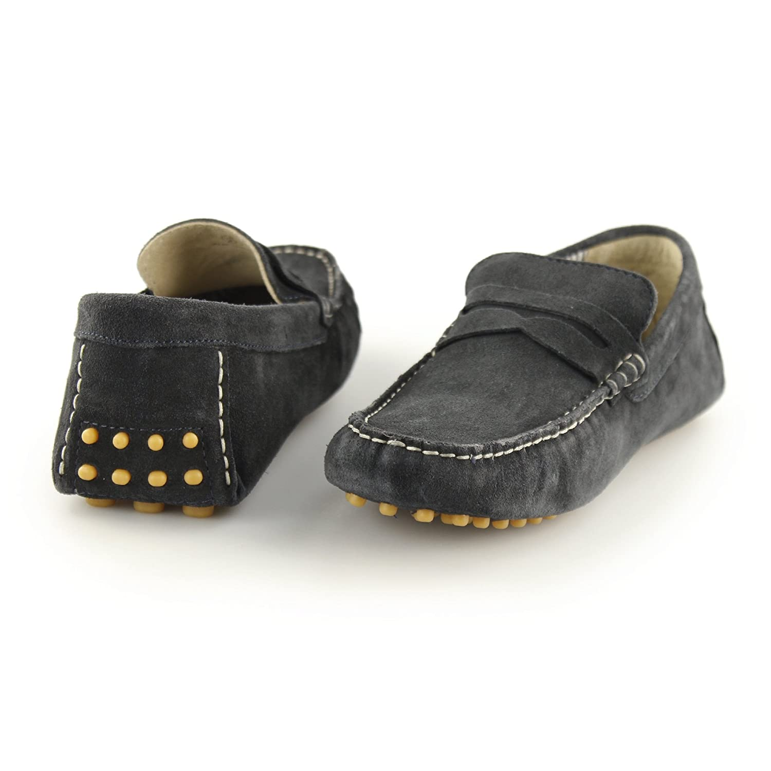 Ikon JENSON Mens Suede Leather Slip On Moccasin Casual Driving Loafers Navy Blue