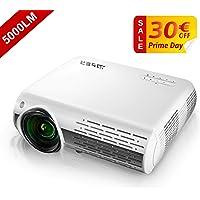 Vidéoprojecteur, YABER 5000 Lumens Full HD 1080P (1920 x 1080) Projecteur avec Réglage Trapézoïdal 4D, Deux Haut-parleurs Stéréo HiFi et 3 Dissipateurs de Chaleur par Ventilateur Intégré
