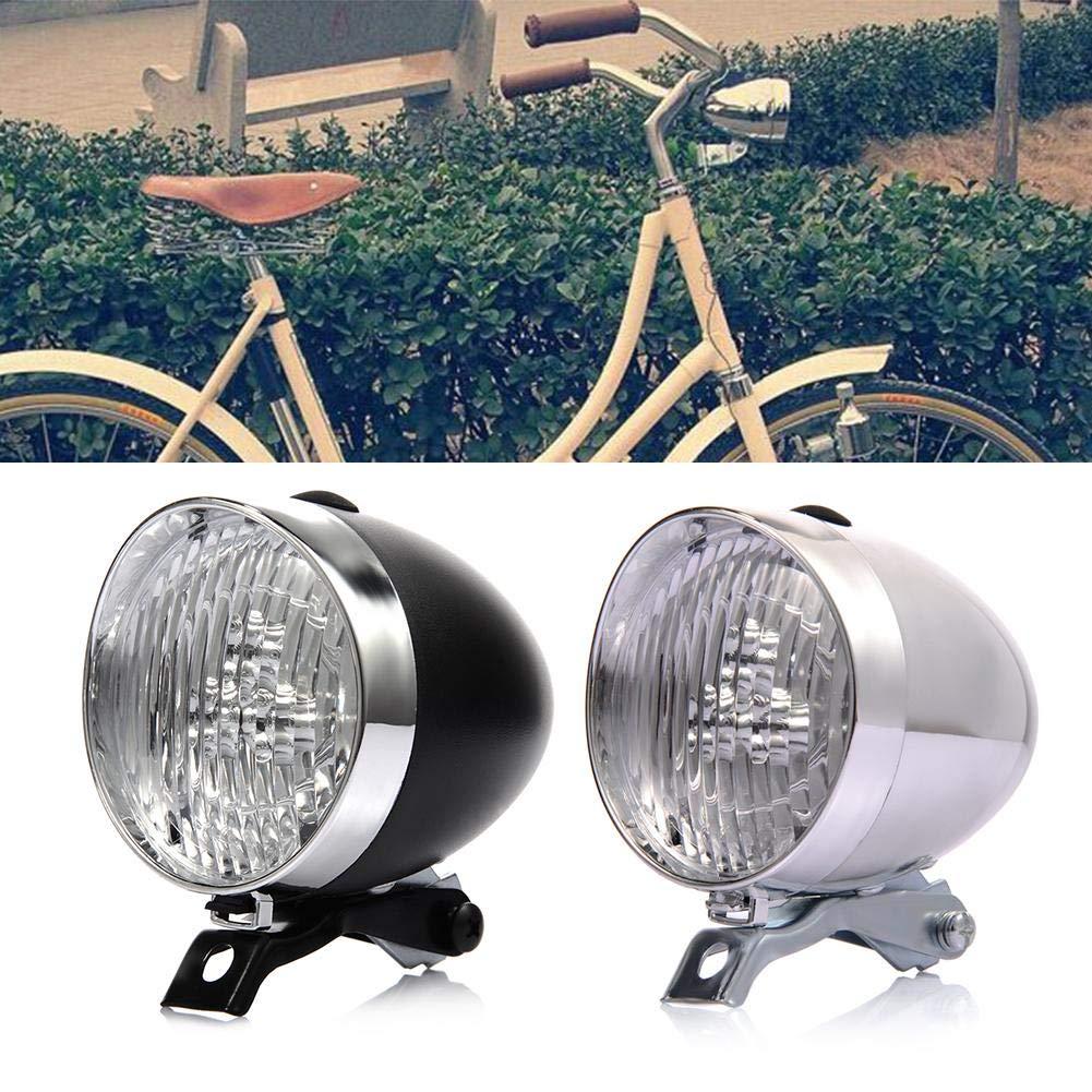 kelihood Classic Cool Silver Vintage Retro Accesorio de la luz Delantera de Bicicleta Soporte Faros Delanteros Soporte de la luz Frontal Vintage 3LED Linterna