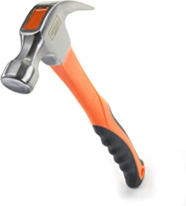 Edward Tools 16 oz Claw Hammer with Fiberglass Handle - All Purpose Hammer with Forged Hardened Steel Head - Ergo Shock Absorbing Rubber Grip